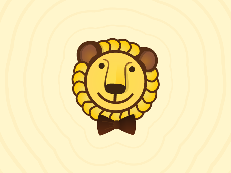 Kind lion leo lion cute bow tie smile animal yellow trademark