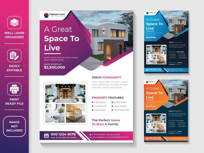 Creative and Modern Awesome Property Agent Real Estate Flyer dreamhome househunting realtorlife investment property management property home screen home realestateagent vector ui propertysales propertyforsale housesales houseforsale homesales homeforsale forsale design