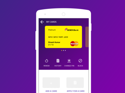 Banking app - Manage Cards page