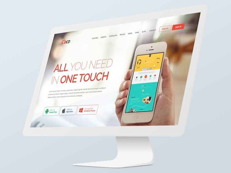 Coco App Site Template android app mobile ios coco