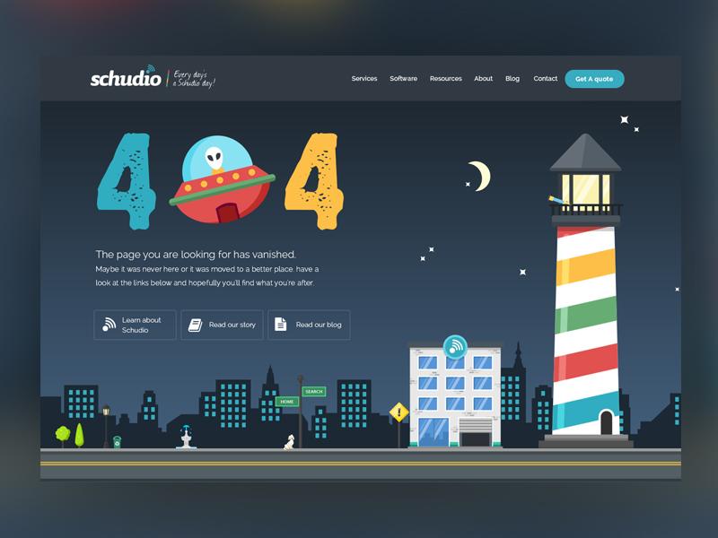 Schudio 404 page design cartoon flat illustration error 404