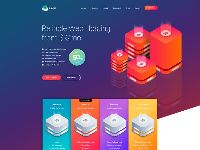 Bilqis Hosting red blue gradient hosting cloud server isometric