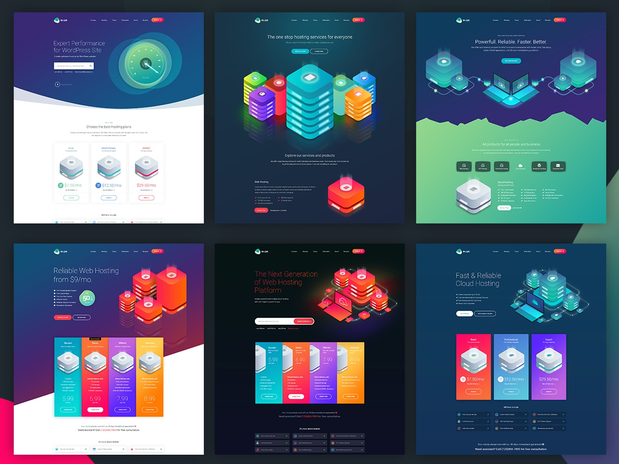Bilqis - The Hosting PSD Template dedicated domain vps gradient web design gradient color gradient design isometric illustrations cloud hosting web hosting hosting template psd