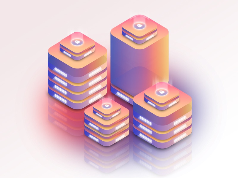 Isometric Server Illustrations - Web Security gradient cloud hosting web hosting lock web security ssl isometric server isometric illustration