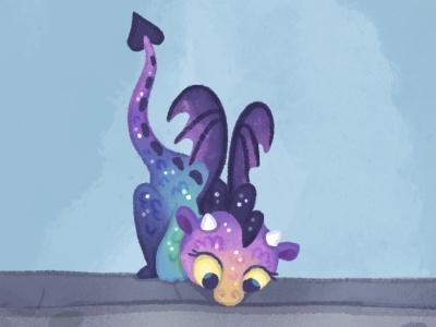 Little curious dragon kid lit art digital art dragon illustration