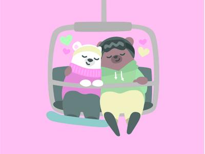 Love lift us up vector illustration bear ski snowboard lift happy valentines day valentines day valentine love