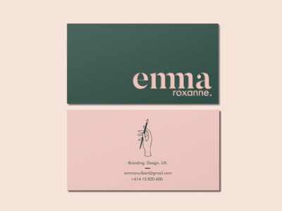 Emma Roxanne Business Card figma design illustrator graphic  design logo graphic design design figma branding and identity branding design branding business card mockup business card business card design