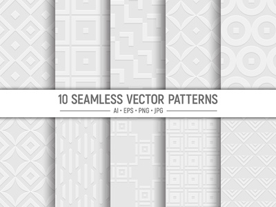 10 seamless geometric vector patterns background pattern collection fabric art clip
