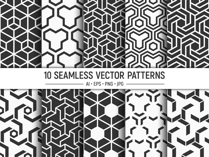 10 seamless geometric vector patterns art clip graphic vector textile surface pattern surface design style seamless pattern design pattern paper ornament illustration hexagon geometric fabric design background backdrop