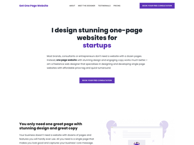 Get One Page Website landing page design home page design website design freelancer website minimalist single page design single page website one page website