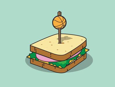 Basketballwich cartoon sandwich illustration basketball