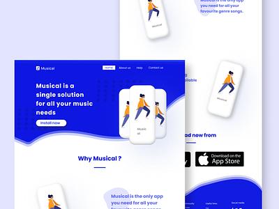 Musical app concept design design ux web ui uiux website