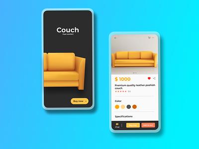 Couch Selling Store - Mobile app ui design branding design illustration graphic design flat website web ux uiux ui