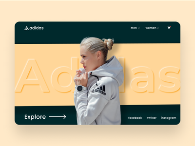 Concept Hero section for Addidas store. logo vector minimal typography design website web ux uiux ui