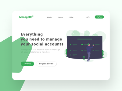 Landing page design for a Sass product vector minimal logo typography illustration design branding website web ux uiux ui