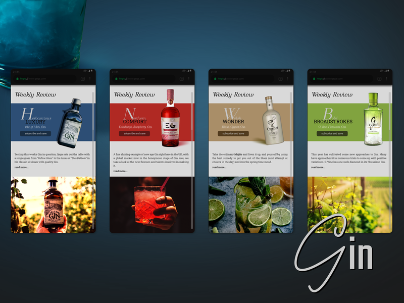 Gin Subscription Website - Editorial Front gin ecommerce design web design branding design vector affinity designer