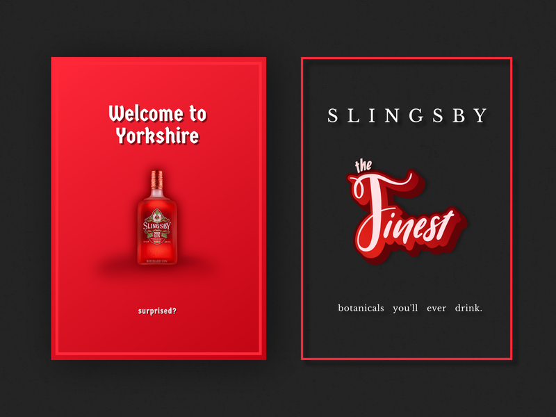 Slinsby Gin Ads - Unofficial poster yorkshire slingsby gin typography advertisement branding design vector affinity designer