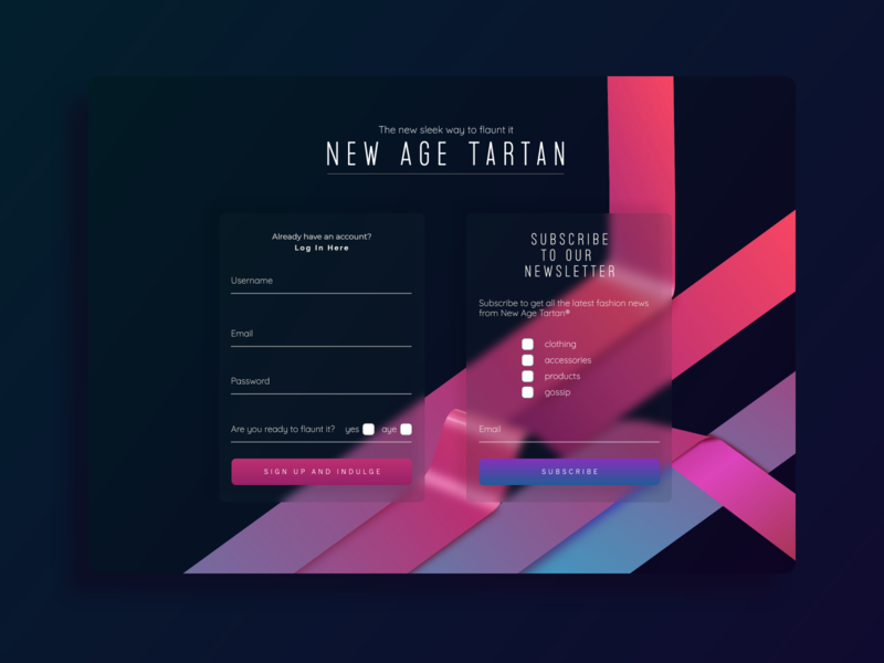 Dribbble XD Challenge - Signup form for New Age Tartan xd design xd signup signup screen signup form signup page web design adobexd tartan