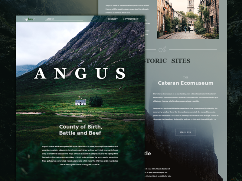 Explorer site - Angus scotland green landscape angus adobe photoshop ux advertisement web web design design