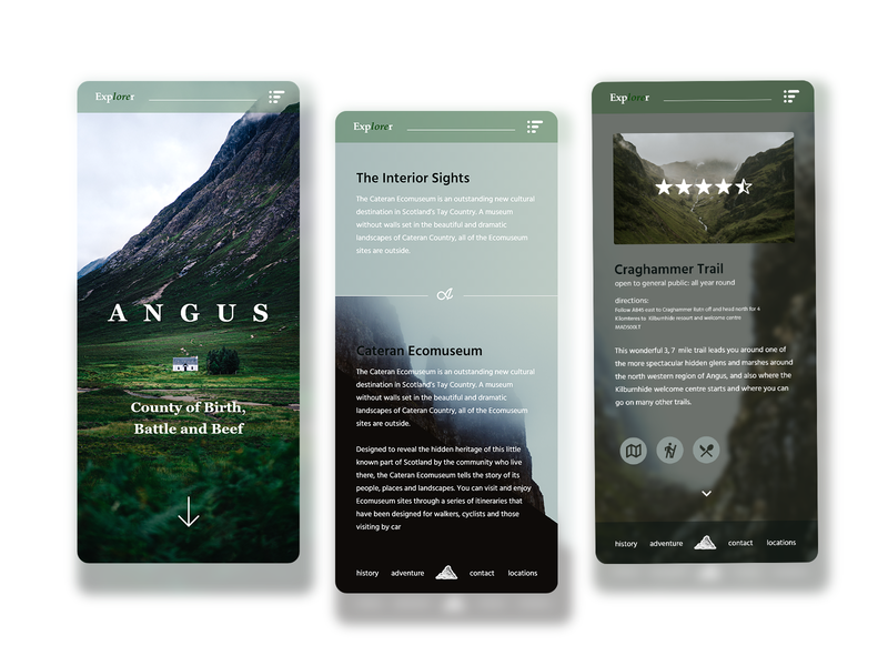 Explorer - Angus Mobile Site adobe xd web ux ui adobe photoshop web design design branding