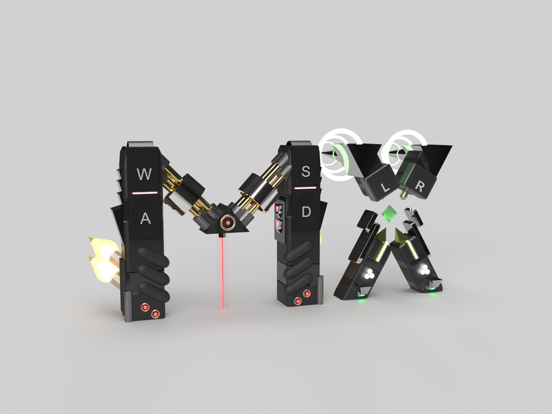 Playoff-MX-Logitech-Lettering Alternative 3d art 3d adobe dimension logitech playoff mx controller prototype robot icon typography branding design