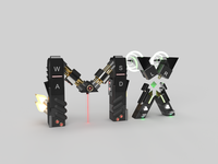 Playoff-MX-Logitech-Lettering Alternative 3d art 3d adobe dimension logitech playoff mx controller prototype robot icon typography branding design