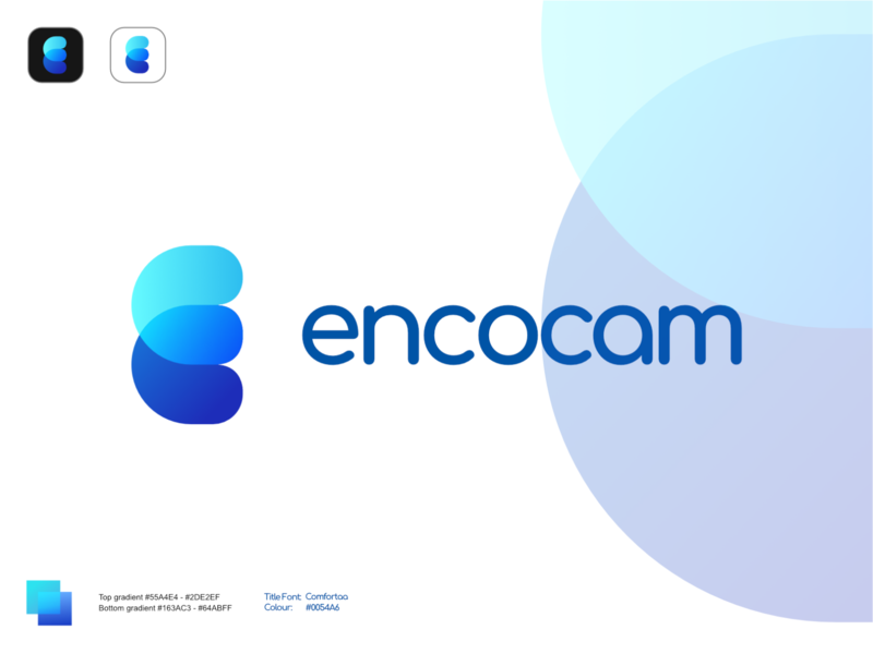 Mockup: Encocam v2 Spread blue rebranding mockup encocam icon illustration logo affinity designer vector design branding
