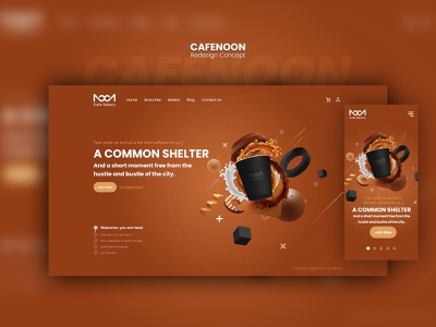 CafeNoon Redesign Concept landing page uiux colorful design modern coffeeshop coffee responsive webdesign webui concept uidesign ux ui