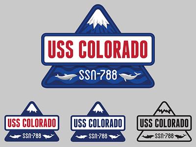 USS Colorado Crest, Triangular version crest submarine badge navy colorado mountain dolphin