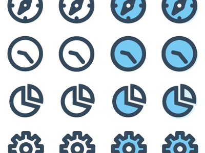 ChatWisdom icons, in-progress settings gear cog chart pie compass clock icons