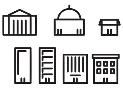 Buildings Illustrations [in-progress] city business commerce bank town hall store icons illustrations buildings