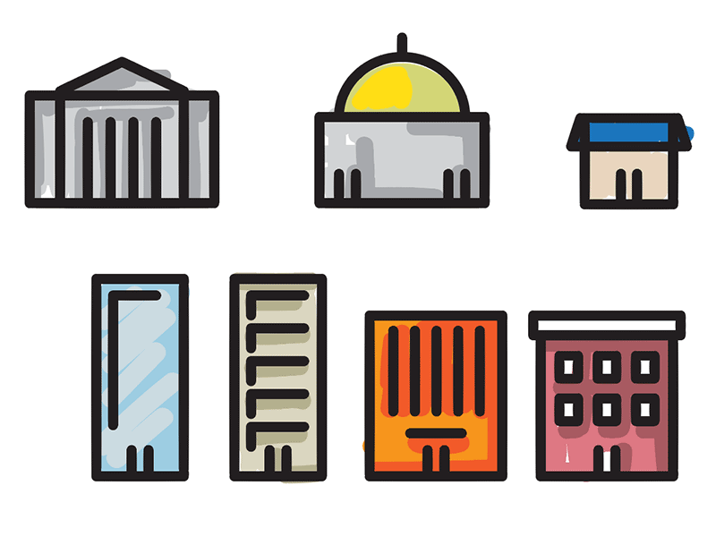 Buildings Illustrations [in-progress] store office bank city hall town city buildings icons