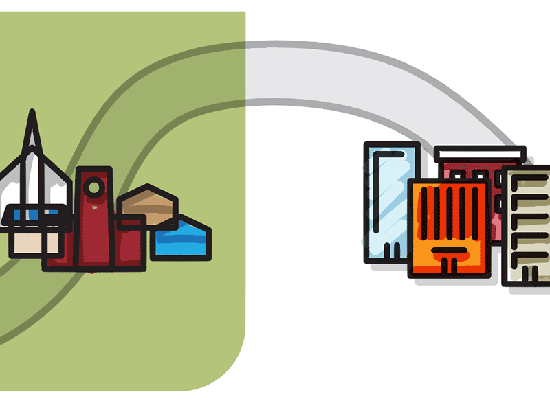 Buildings Illustrations and Game Board [in-progress] cities town buildings stages progress road path