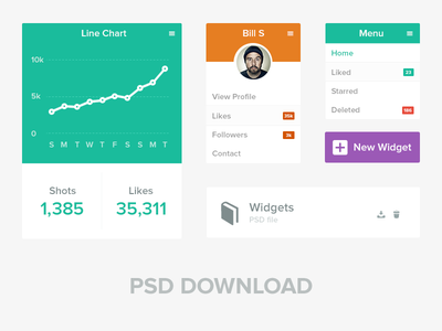 Flat UI Widgets psd flat download widgets charts profile freebie list line donut