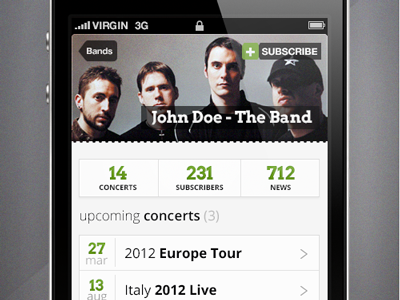 Music Band - iPhone app  app iphone ui date and time green and black green and grey iphone app iphone header iphone list iphone tabs list design music app music app design subscribe