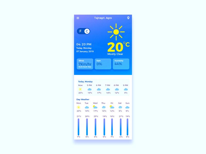 Weather App #dailyui challenge 37 ui daily ui ux graphic design app design