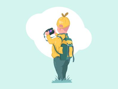 Kid Traveller. backpack travelling travel vector illustration design adobe photoshop graphic design