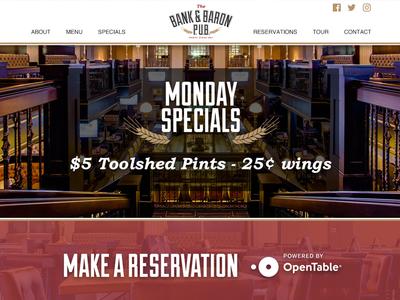 New Bank & Baron Pub Website homepage website clicspacetv clickspace ab