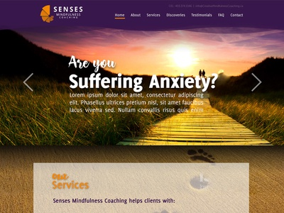 Senses website coaching mindfulness anxiety calgary senses page landing home