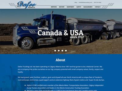 Dafoe Website blue truck trucks landingpage website page home