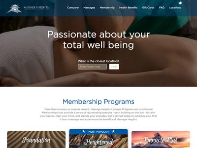 Massage Height website landingpage life therapy massage blue website