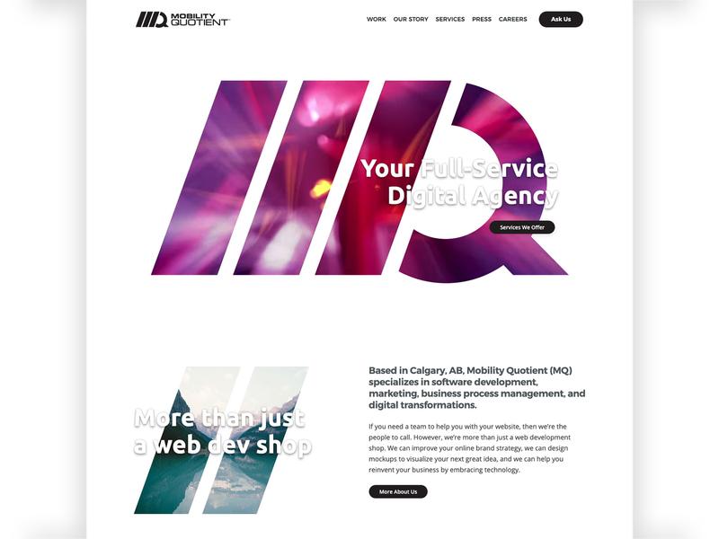 Mobility Quotient Website Redesign 2018 home branding identity calgary minimalist logo video animation website