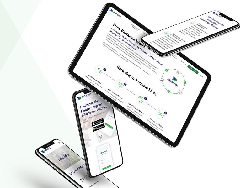 Website of a barter platform barter trade infographic homepage illustraion website design
