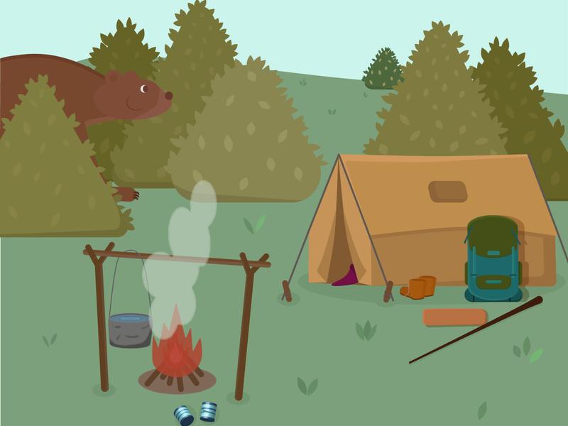 Unexpected guest food bonfire forest flame travel adventure design flat adobe illustrator vector illustration