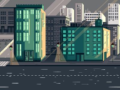 City scape hostel office buildings town city