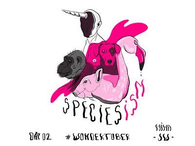 Speciesism - Inktober pink magenta priviledge human animals species ink drawing digital drawing drawing ink inktober inktober2019