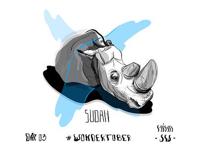 03 - Extinct Species - Sudan | Last Male Rhino graphic male animal rhino endangered extinct species blue illustration digital drawing drawing inking inktober2019 inktober