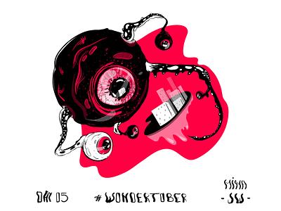 Surveillance Dystopia panopticon reds monster digital surveillance sticker illustration digital drawing ink inktober inktober2019