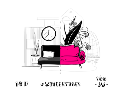 Gendered House magenta gender feminin masculin sofa couch interior house home illustration digital drawing drawing ink inktober inktober2019