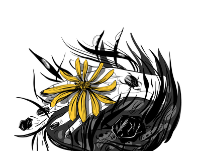The living commons common design vector medow yellow beetle bug flower living common grass ground hand illustration drawing digital drawing inking ink inktober inktober2019